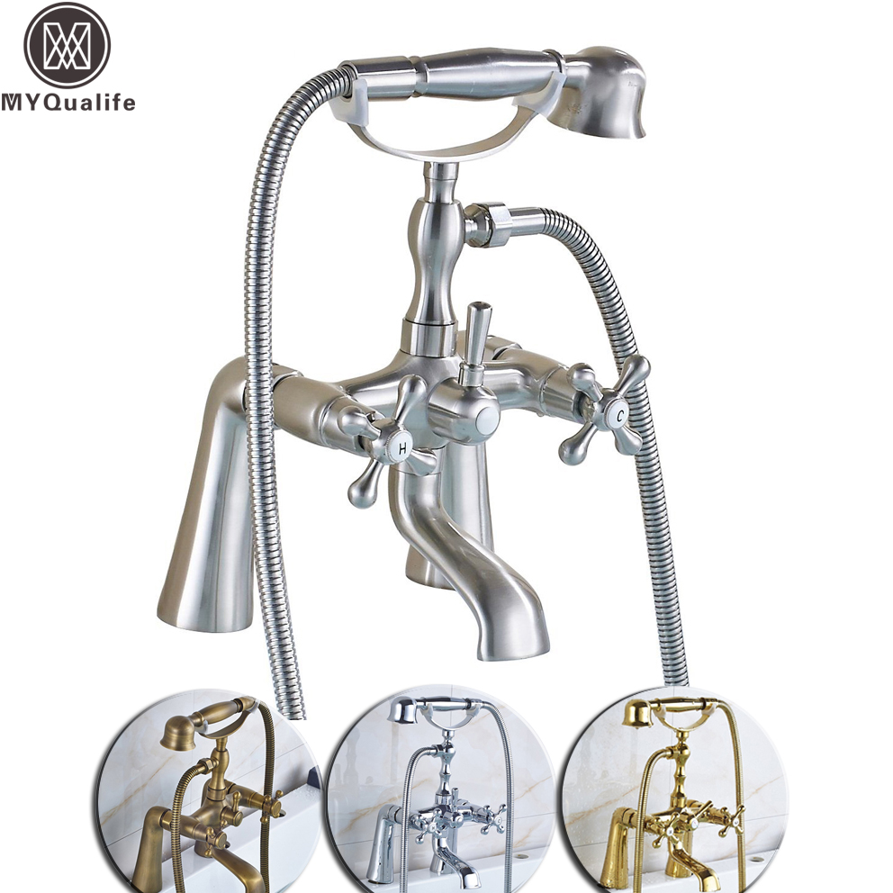Deck Mounted Two Handle Bathtub Sink Faucet Telephone Deck Standing Dual Hole Bathtub Mixer with Handshower Head