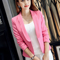 New Fashion Women Blazers and Jackets 2017 Spring Autumn White/Pink Slim Long-sleeve Ladies blazer feminino branco Plus Size