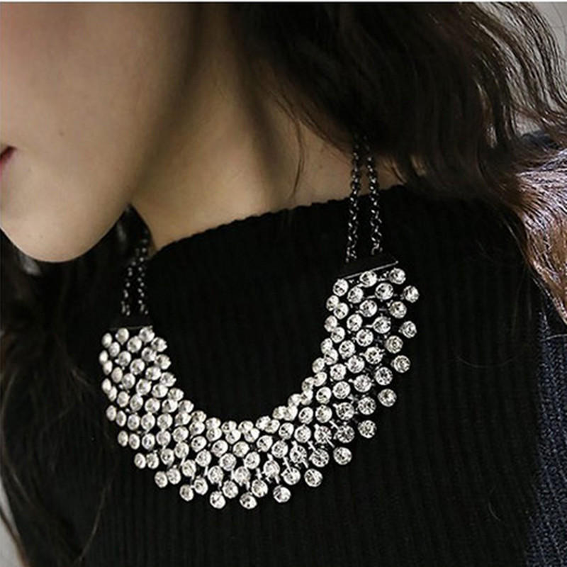 Купить с кэшбэком Kymyad Collier Femme Trendy Crystal Statement Necklaces Pendants Women Jewelry Multilayer Link Chain Necklace Bijoux Colares