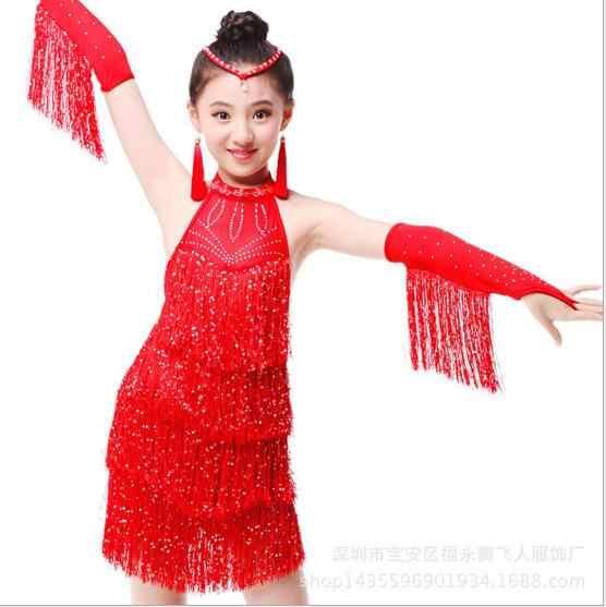 Fringe Latin Dance Kleid Für Verkauf Kind Kid Mädchen Junior Salsa Bachata Latin Dance Kostüm Ballroom Dance Wettbewerb Kleid
