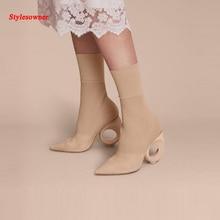 Stylesowner New Arrival Knitting Wool Stylish Boots For Women Camel Black Hollow Round Strange Heels Slim