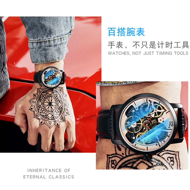 AILANG Original design uhr automatische tourbillon handgelenk uhren männer montre homme mechanische Leder pilot taucher Skeleton 2019-in Mechanische Uhren aus Uhren bei  Gruppe 3