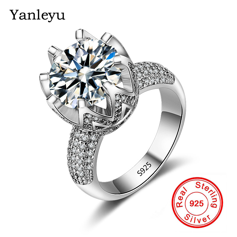 Yanleyu Luxury Big 4 Carat Cz Diamant Wedding Rings For Women
