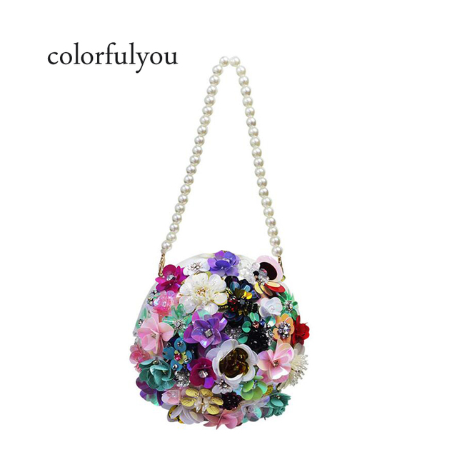 a5a232ce2f 2019 Women's Handmade flowers Handbags Small Tote Fashion Diamond Beaded Ball  Clutch Bag Wedding Small Clutch Purse Evening Bag