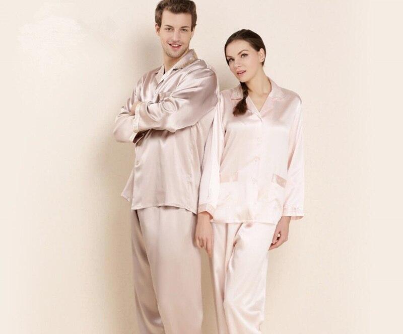 16,5 мм элегантные женские мужские 100% шелковые пижамы наборы Пары с длинным рукавом зимняя Домашняя одежда благородные простые шелковые пижа