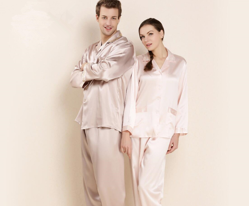 16.5mm Elegant Female Male 100% Silk Pajamas Sets Couples Long Sleeve Winter Homewear Noble Simple Silk Pijamas 2 Piece Sleepwea
