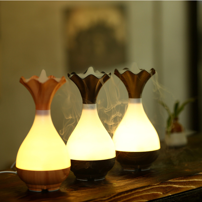 Freeshipping 95ml Wooden Vase Decorative Essential Oil Diffuser Usb Evaporative Humidifier Magic Big Mist Fogger With Led Light In Humidifiers From Home