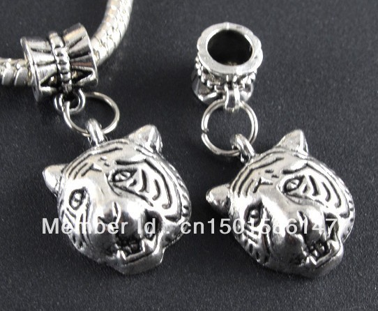 10PCS Tibetan Silver Tiger Heads Charms Pendants For Jewelry Making Findings Bracelets Crafts Handmade Accessories Gifts Z102