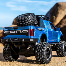 KIDAMI 1:32 Ford Raptor F150 Alloy Diecast Car Model Toys Sound Light Toy Pickup Truck Pull Back Vehicle For Children машинки