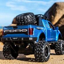 KIDAMI 1:32 Ford Raptor F150 aleación Diecast juguetes de modelo de coche sonido ligero juguete Pickup camión Pull Back vehículo para los niños