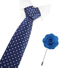 New Man Fashion Plaid Neckties Men Ties Corbatas Gravata Jacquard Slim Tie Business Green Tie For Men Tie And Brooch Set