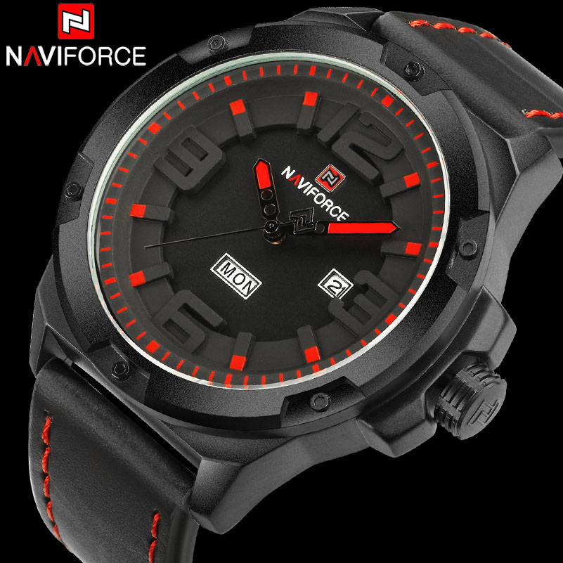 NAVIFORCE Men s Sport Watch Men 30M Waterproof Analog Quartz Watches Leather Band Creative 3D Dial
