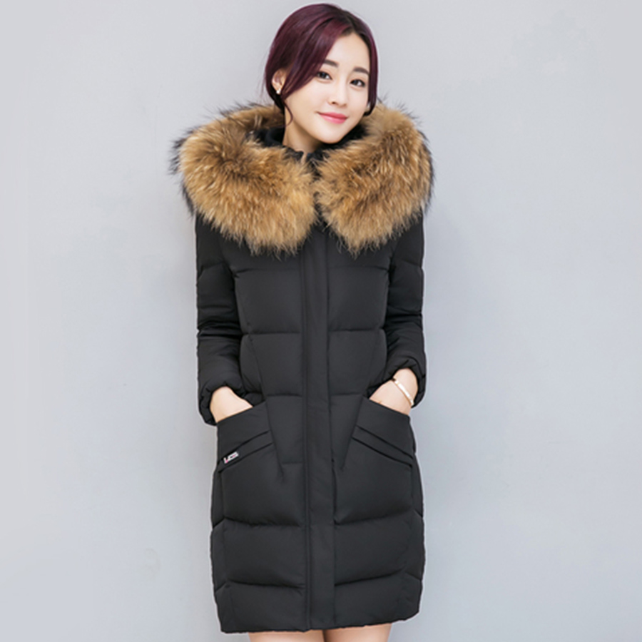 Long Fur Collar Soild Thicken   Down     Coat   Women Hoodie Warm Standing Collar Cotton   Down   Jacket Outerwear Female Elegant Winter New