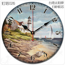12 inch multi style Optional vintage wall clock brief decoration mute wood wall clock lighthouse fashinon