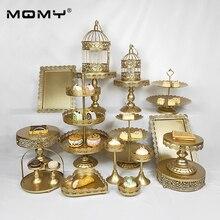 1 Pcs Gold Tray Dessert Metal 3 Tier Crystal Vintage Wedding Cake Stand