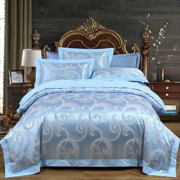 De lujo de satén de algodón sedoso tamaño de la Reina juego de cama real suave sábana ajustable para cama de edredón Lino cubierta de cama ropa de cama