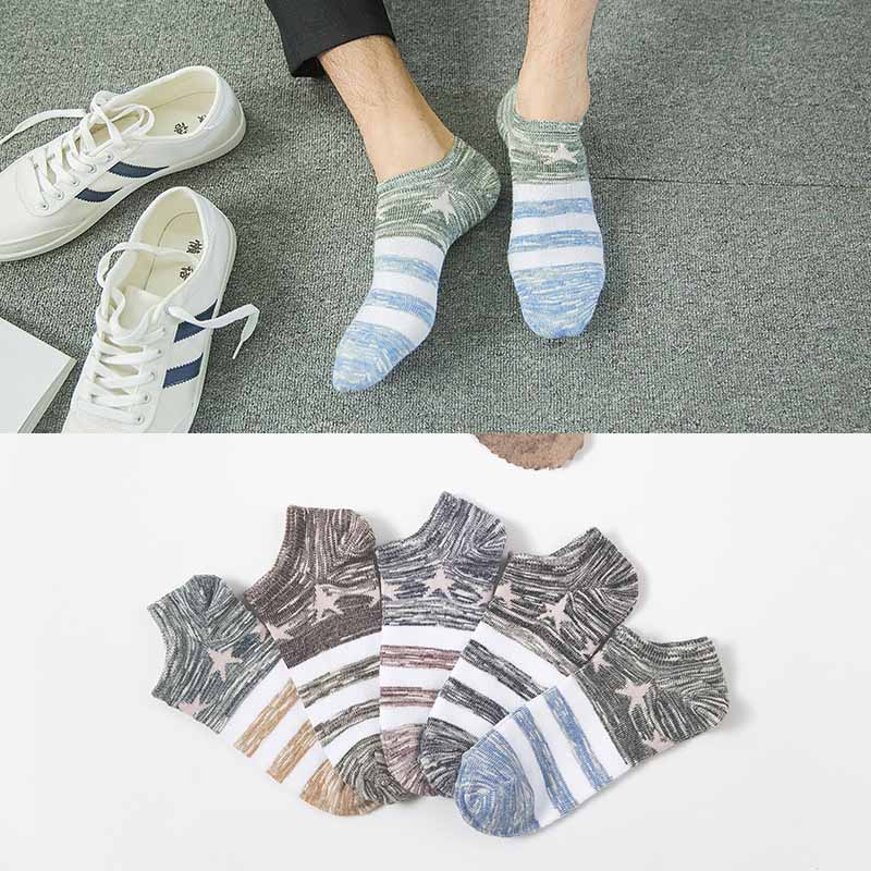 New Men Cotton Stripe Short Sock Women Pentagram Shallow Mouth Short Sock Autumn Winter Absorb Sweat Breathable Hosiery