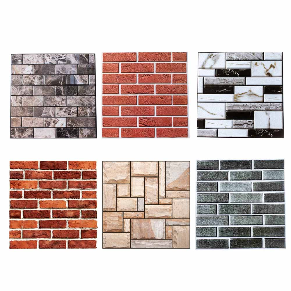 PVC 3D Wall Sticker Tile Brick Self-adhesive Mosaic Living Room TV Background Bedroom Decor 3D Wall Decal 6 Style