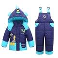 Chaquetas de invierno Para Niños Niñas Niños traje para la Nieve Niños Ropa de Abrigo Chaqueta Niño prendas de Vestir Exteriores de la Capa + Pant de la Ropa Del Mono