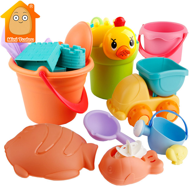 Summer Silicone Soft Baby Beach Toys Kids Mesh Bag Bath Play Set Beach Party Cart Ducks Bucket Sand Molds Tool Water Game