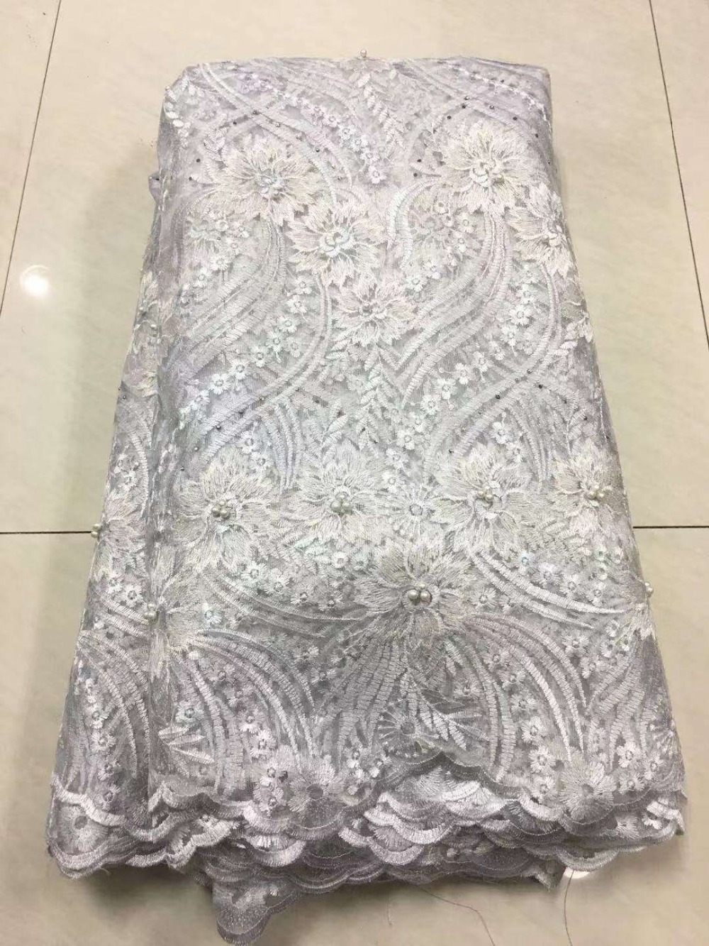 2019 African Laces Fabrics Embroidered Nigerian 3D Guipure French Cord Lace Fabric High-quality African French Net Lace Fabric (5)