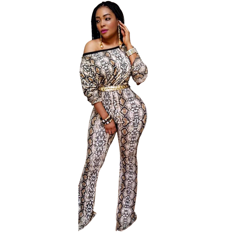 Snake Print Off Shoulder   Jumpsuit   Women Autumn Long Sleeve Sexy Bodysuit Plus Size Wide Leg Long Pants Rompers Womens   Jumpsuit
