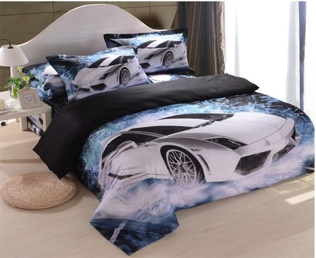 Car Bedding: White Car Blue Black Cool Men's Boys 3d Bedding Sets Duvet