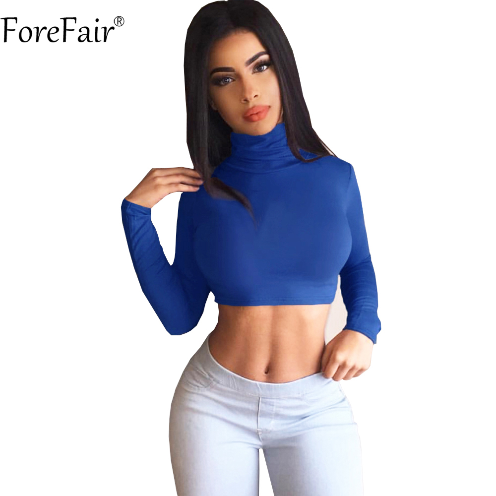 Fore Fair Autumn Turtleneck Long Sleeve T Shirt Blue Gray Black White Sexy Crop Top Plus Size Women Skinny T Shirt by Forefair