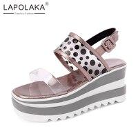Lapolaka 2019 Brand New Polka Dot Ladies Wedges High Heels Platform Women Shoes Woman Casual Party Ol Summer Sandals