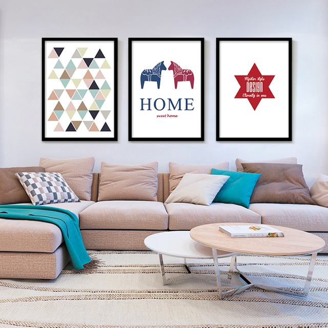 Sweet Home Paintings Geometric Triangles Printable Art Wall Pictures Canvas Poster Cuadros Oil Painting