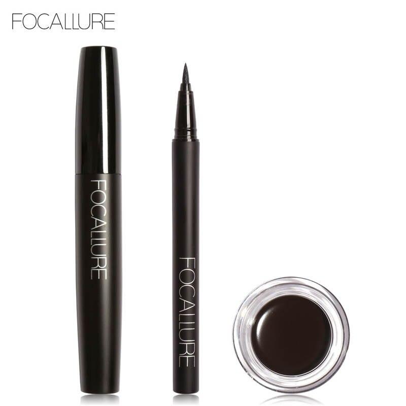 FOCALLURE Pro 3Pcs Eyes Daily Makeup Use Black Eyeliner Mascara and Eyebrow Cream