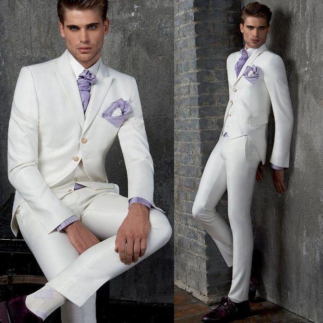 FOLOBE costume homme Custom Made White Men Wedding Suits Groom ...
