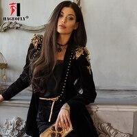 HAGEOFLY Высокое качество модные дизайнерские Блейзер Для женщин заклепки Epaulet блестками Цветочные Одноместный кнопки Черный пиджаки куртка Ж