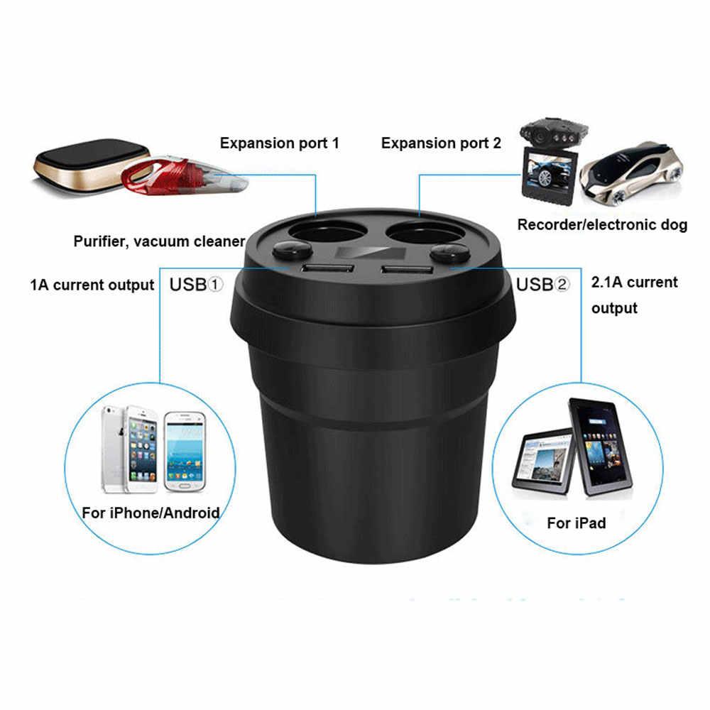 YuBeter רכב מטען כוס שקעי DC12-24V מצית מתאם USB הכפול יציאות עבור טלפון GPS תשלום עם מתח LED תצוגה