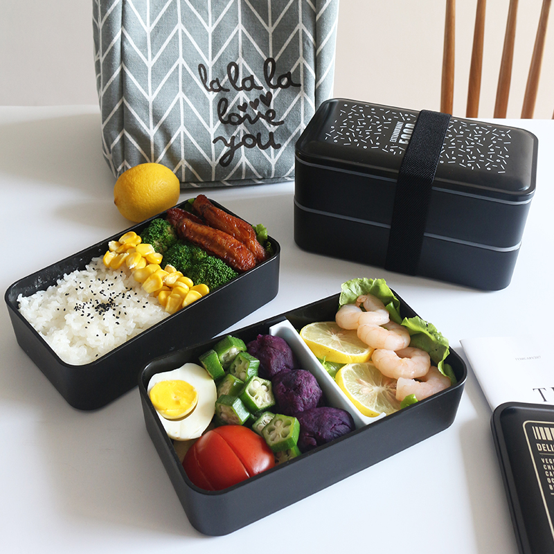 Lunch Bento Box  Double Food Container Microwave Container Storage Spoon Office Worker School Multifunctional Lunch Box 2000ml