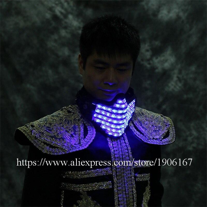 LED bonne affaire coloré lumineux fête masque LED clignotant brillant visage garde masque Halloween anniversaire DJ noël éclairer masques