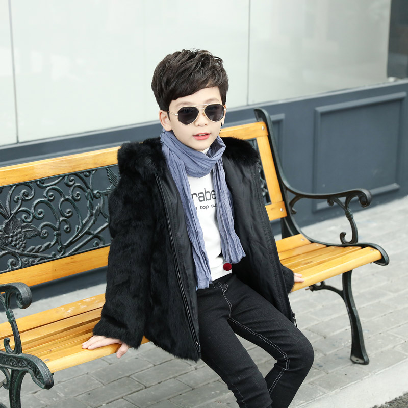 2018 Children Real Rex Rabbit Fur Boy Fur Coat Child Natural Rabbit Fur Clothes Fashion Baby Autumn Winter Vest Boy Coat 5615 new fashion children natural fur jacket boy
