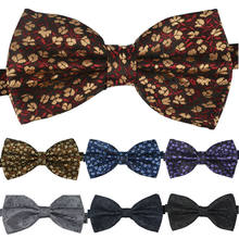 NEW Men woven Tuxedo Classic Bowtie Fashion Floral Neckwear Adjustable Man black Bowties Polyester for wedding Free Shipping(China)