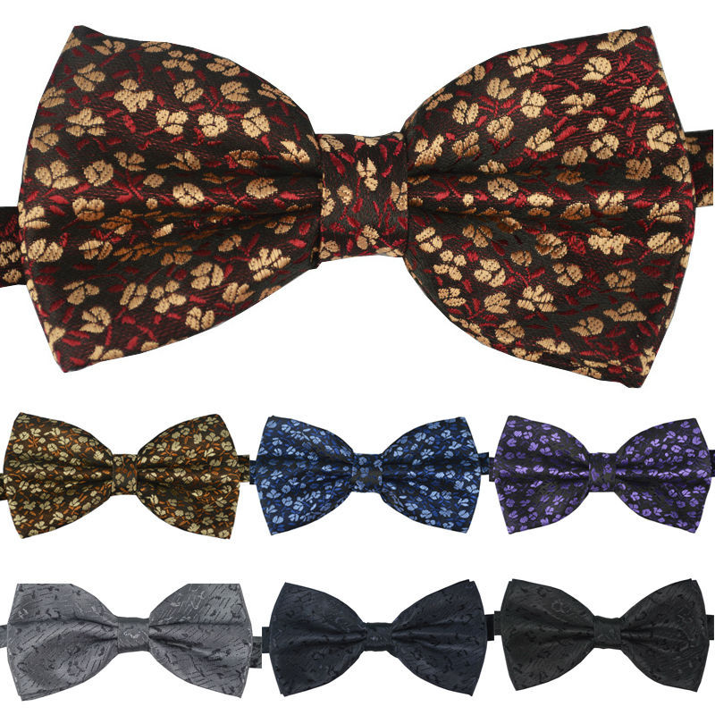 NEW Men Woven Tuxedo Classic Bowtie Fashion Floral Neckwear Adjustable Man Black Bowties Polyester For Wedding Free Shipping