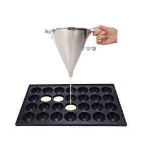 Image 3 - Itop aço inoxidável pequenas bolas de polvo fazendo funil cupcakes cozimento dispensador com rack utensílios cozinha funil ferramentas