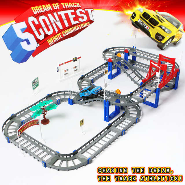 US $16 0 50% OFF|88pcs Two layer DIY Electric Rail Track Roller Coaster  Model Slot Cars 5 contest infinite combinations Educational toys for kid-in