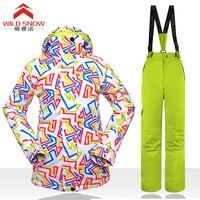 Free Shipping Waterproof Jacket Snow Ski Suit Set Womens Snowboard Jackets Mountain Ski Suit Women Skiing