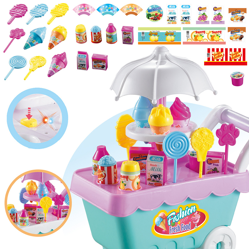 Children's Play House Toys Kid's Candy Ice Cream Cart DIY Light Music 19-Piece Bedroom Decoration Holiday Gift Grow Playmate Hot