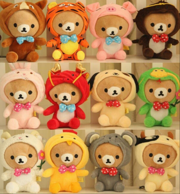 12pcs/lot 18cm Twelve Zodiac Relax Bear brinquedos kawaii Doll For Baby Car Pendant Teddy Bear Gift For Girls And Children long yi painted red lacquer carving pendant with rich fish car hongfu snake zodiac mascot 2000599 years