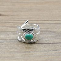 Handmade Sterling Silver Jewelry Thai Silver Feather Turquoise Silver Ring Tide Men S Accessories Ring