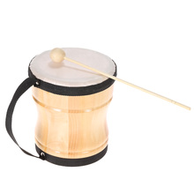 High Quality Kids Children Toy Wood Hand Bongo Drum Musical Percussion Instrument with Stick Strap
