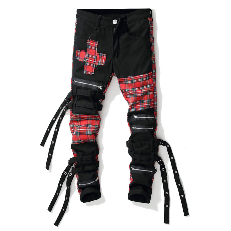 ABOORUN Men's Fashion   Jeans   Punk Skinny Plaid Patchwork   Jeans   with Ribbons Men's Hip Hop Streetwear   Jeans   x1573