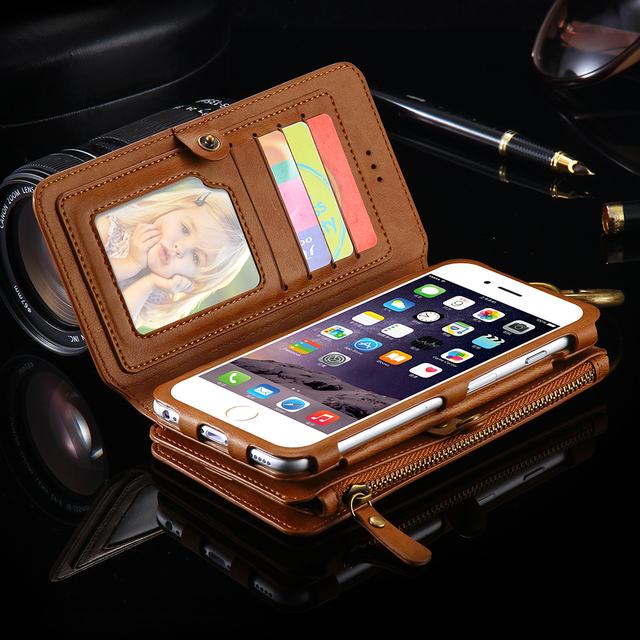 FLOVEME Retro Case For iPhone 6 7 6S Plus Folded Metal Zipper Hybrid Removable 18 Card Slots Wallet Cover For iPhone 7 6 6S Plus