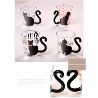 Cute Creative Cat Kitty Glass Mug Cup Tea Cup Milk Cup Coffee Cup Red Dots