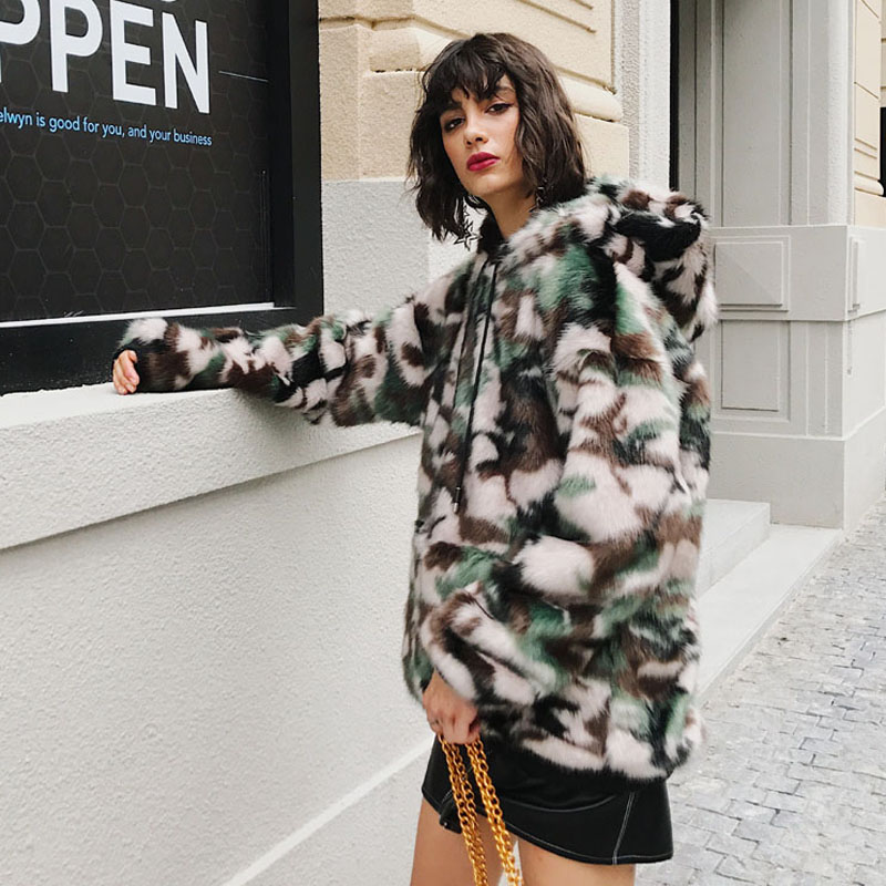 Winter Faux Fur Coat Pullover Women Camouflage Leopard Fur Jacket Multi  Color Artificial Furry Fur Coat Hooded Outfit SWQ0351 45-in Faux Fur from  Women s ... dc74056f9f